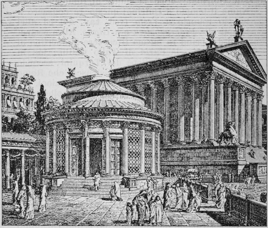 Forum de Rome : Temple de Vesta au premier plan.