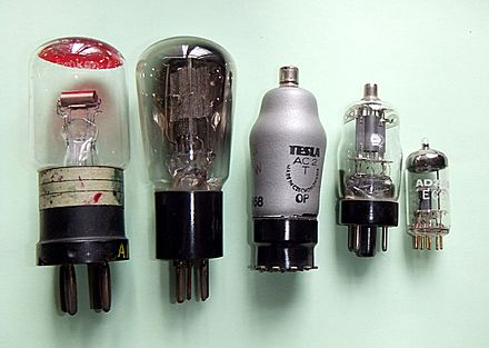 Examples of low power triodes from 1918 (left) to miniature tubes of the 1960s (right) Triody var.jpg