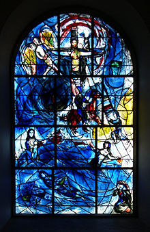 Photograph of a window in All Saints Church, Tudeley. The stained glass window is by Marc Chagall. It commemorates Sarah d'Avigdor-Goldsmid, who drowned in a boating accident in 1963