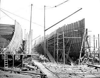 Bellingham, Washington - Boats being built at the Pacific American Fisheries yard in Bellingham, September 1916