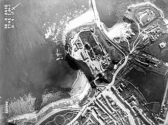 Tynemouth - An aerial shot of Tynemouth Castle, taken in 1917, which was a major coastal fortress and the control centre of the Tyne defences, which stretched from Sunderland to Blyth.