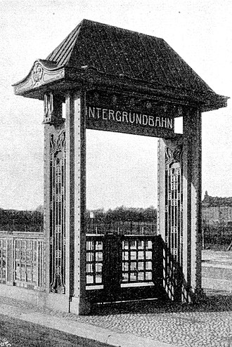 Kaiserdamm (Berlin U-Bahn) - The entrance of U-Bahn station Kaiserdamm, 1908