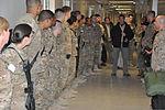 U.S. Deputy Secretary of Defense Ash Carter, center, and his wife, Stephanie, speak to hospital staff members at the Heathe N. Craig Joint Theater Hospital at Bagram Airfield in Parwan province, Afghanistan, on 131128-F-UR349-014.jpg