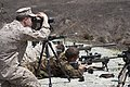 U.S. Marine Corps Staff Sgt. Edward Bruegman, left, an assistant platoon sergeant with the 1st Reconnaissance Battalion, spots a New Zealand Army sniper preparing to engage long-distance targets June 12, 2013 130612-M-OM885-014.jpg