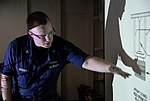 U.S. Navy Damage Controlman 2nd Class Trae Avery instructs a damage control familiarization class aboard amphibious transport dock ship USS Green Bay (LPD 20) Aug 22, 2012, in the Pacific Ocean 120822-N-BB534-182.jpg