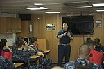 U.S. Navy Senior Chief Aviation Machinist's Mate James Faulkner, center, the drug and alcohol program adviser aboard the aircraft carrier USS Harry S. Truman (CVN 75), speaks to Sailors during an indoctrination 131008-N-CC806-003.jpg
