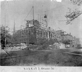 United States Post Office and Customs House (Atlanta) - Building under construction, 1870s