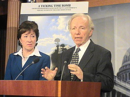 Senate Homeland Security and Governmental Affairs Committee Chairman Lieberman and Ranking Member Susan Collins address bipartisan suggestion on countermeasures toward Islamist extremism & domestic terrorism in U.S. U.S. Senate Homeland Security and Governmental Affairs Committee Chairman Joe Lieberman and Ranking Member Susan Collins address bipartisan suggestion on countermeasures toward domestic terrorism.jpg