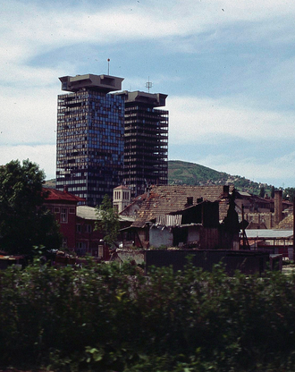 United Investment and Trading Company - Twins in 1996, burned during the war by tank shells
