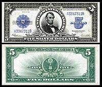 Certificado de prata de $ 5, série 1923, Fr.282, representando Abraham Lincoln
