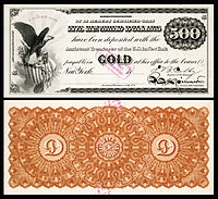 $500 Gold Certificate, Series 1865, Fr.1166d, with a vignette of an eagle and shield (left).