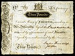 Virginia colonial currency, 3 pounds sterling, 1773 (obverse)