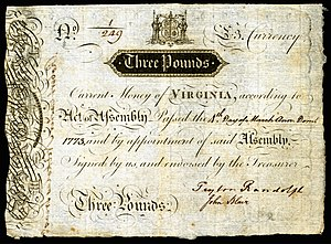 Peyton Randolph - Virginia colonial currency (1773) signed by Randolph and John Blair, Jr..