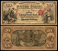 $20 National Gold Bank Note, The First National Gold Bank of San Francisco