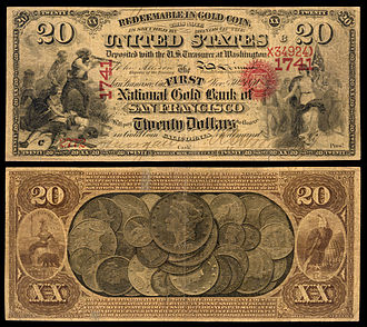 National gold bank note - Image: US NBN CA San Francisco 1741 1870 20 2772 C