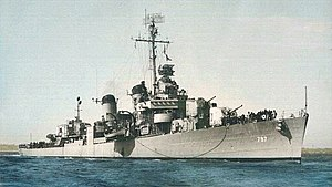 USS Cushing (DD-797) underway, circa in 1946