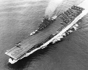 VF-83 - Image: USS Essex (CV 9) underway on 20 May 1945