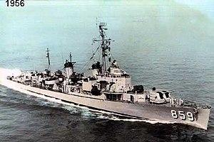 USS Norris (DDE-859) underway at sea in 1956