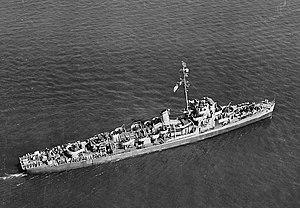 USS Runels (DE-793) underway at sea, circa in early 1944 (19-N-67527)