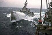 USS Sigourney (DD-681) in heavy weather 1957