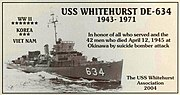 USS Whitehurst (DE-634) memorial plaque