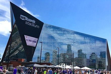 The Vikings moved to U.S. Bank Stadium in 2016 US Bank Stadium - West Facade.jpg