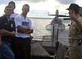 US Navy 040915-N-2820Z-001 Driver of the Navy sponsored NASCAR Bush Series No. 14 Chevrolet Monte Carlo, Casey Atwood and members of his crew check out the sail onboard the Los Angeles Class submarine USS Scranton (SSN 756).jpg
