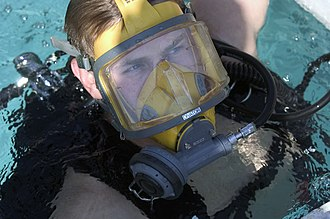 Full face diving mask - The AGA Divator full face mask is used by military and civilian divers
