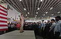 US Navy 050910-N-2383B-588 Chief of Naval Operations Adm. Mike Mullen addresses the crew of the amphibious assault ship USS Iwo Jima (LHD 7) during an All Hands Call.jpg