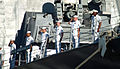 US Navy 080221-N-0879R-003 Sailors render honors aboard the Pearl Harbor-based guided-missile destroyer USS Russell (DDG 59) for the arrival of the Secretary of Defense (SECDEF) Robert M. Gates.jpg