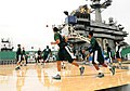 US Navy 111111-N-SB672-005 Michigan State University basketball players practice on the flight deck of the Nimitz-class aircraft carrier USS Carl V.jpg