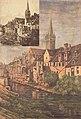 """Ucciani Pierre (tabl) 1910 Caen """"église saint Pierre( hst 44x64), A. Delaunay (gravure) archives départ. calvados (comparatif).jpeg"""