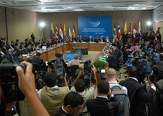 Union of South American Nations - South American presidents gathered during an extraordinary meeting for the signing of the UNASUR Constitutive Treaty in May 2008 in Brasilia.