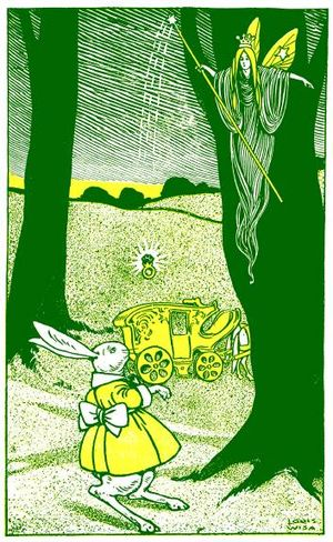 Green and yellow etching of a fairy with a wan...