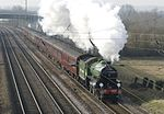 Under the wires, 'Mayflower' goes north from King's Cross to York, March 2015 - panoramio.jpg