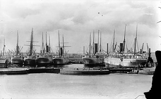 East India Docks - Union-Castle liners in East India Docks in 1902