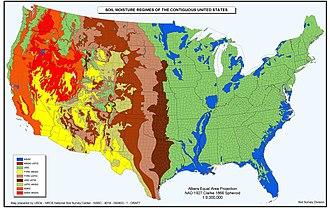USDA soil taxonomy - Map of United States Distribution of Soil Moisture Regimes