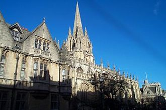 High Street, Oxford - The University Church of St Mary the Virgin on the northern side of the High Street.