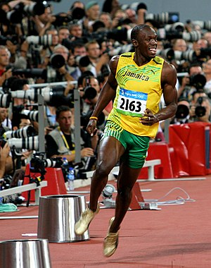 Athletics at the 2008 Summer Olympics – Men's 100 metres - Image: Usain Bolt Olympics Celebration