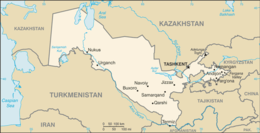 Mapa de República do Uzbequistão