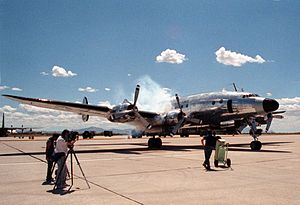 Columbine II - Columbine II starting engines at Davis-Monthan AFB in 1990 for her final flight to Marana Airport