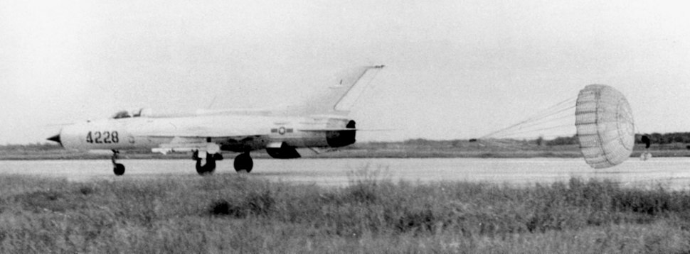 VPAF MiG-21 landing with chute