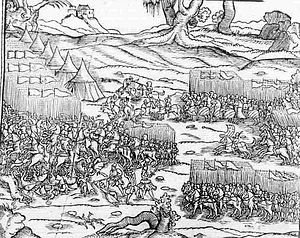 Battle of Varna - A scene from the Battle of Varna (1444) on the Kronika wszystkiego świata of Marcin Bielski, published in 1564.