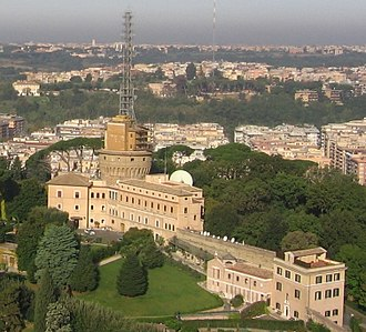Vatican Radio - Administration building and radio masts at Vatican City