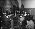 Vaycheslav Molotov, Anthony Eden, and Secretary of State Stettinius with the combined foreign office staffs.... - NARA - 197293.tif
