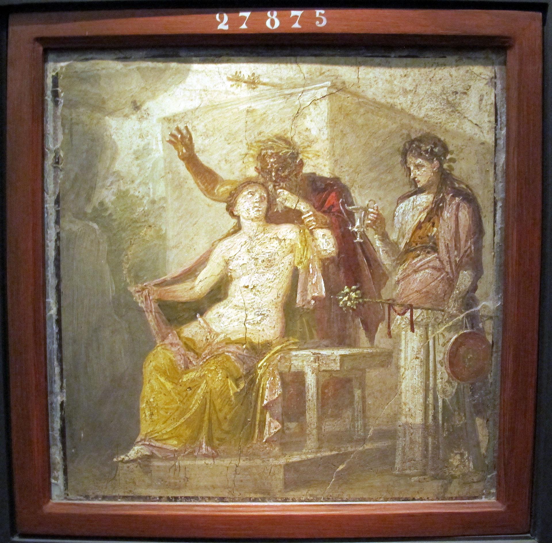 Vecchio satiro ed ermafrodito, da casa di epidio sabino a pompei, 50-79 dc ca., 27875.jpg