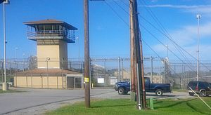 Sally port - Sally port with warning sign, Roxbury Correctional Institution