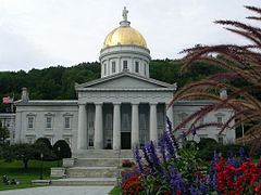 The white marble state capitol building in Montpelier.