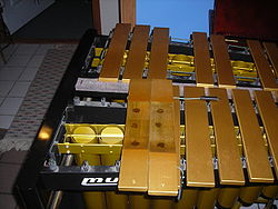 Interior of vibes exposed, showing deep arch and tuning marks in bar bottom, resonators, disks, damper bar and pins for holding bars.