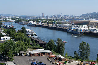 University of Portland - Swan Island Basin and the city of Portland from bluff trail